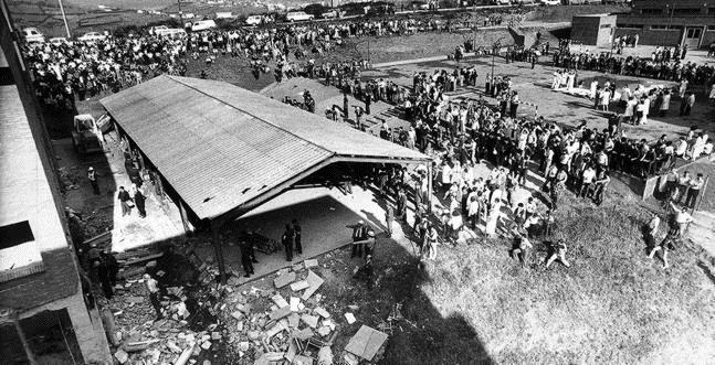 Sight of the school after the explosion that killed 53 people