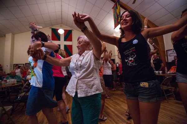 Visitors danced at the Basque Center during the Jaialdi festival in Boise. Credit Ruth Fremson/The New York Times